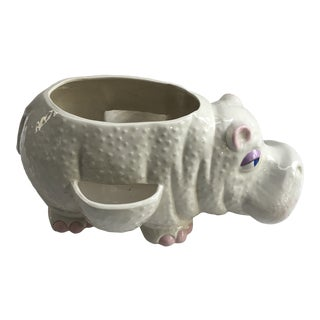 Vintage Ceramic Hippopotamus Planter For Sale