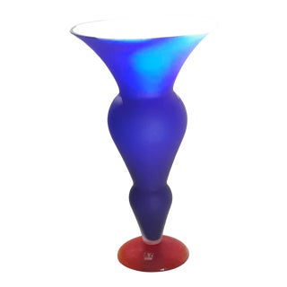 Vetri Murano Glass Matte Blue With Orange Foot Footed Vase For Sale