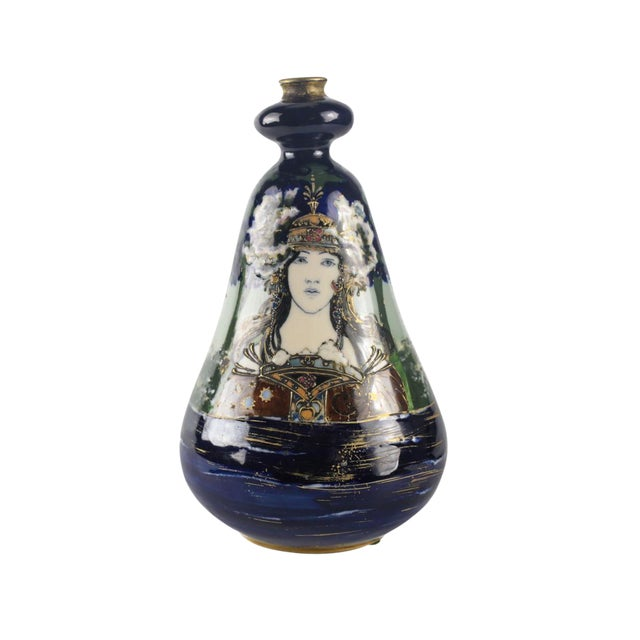 "Circa 1900 Amphora Turn Teplitz Rstk ""Lady of the Lake"" Portrait Vase For Sale"