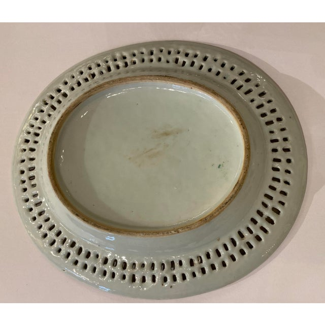 Rose Medallion Pierced Bowl and Under Plate For Sale - Image 12 of 13