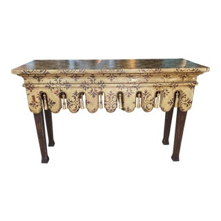 Vintage Scalloped Wood and Tassel Chinoiserie Console Sofa Table For Sale