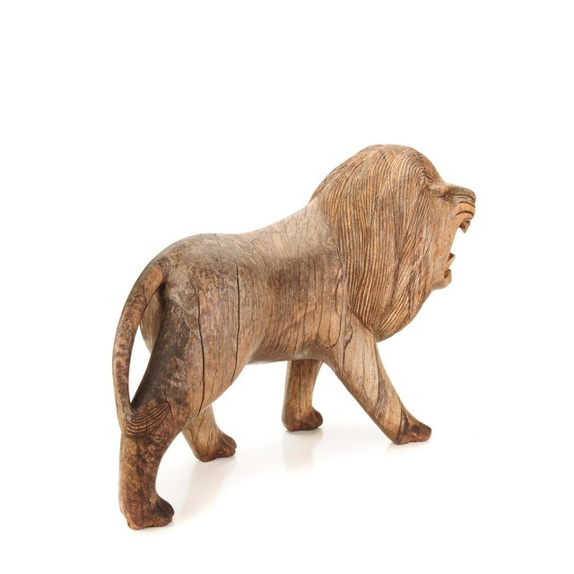 "Roaring Lion Antiques 23"" Carved Wood Sculpture - Image 7 of 9"