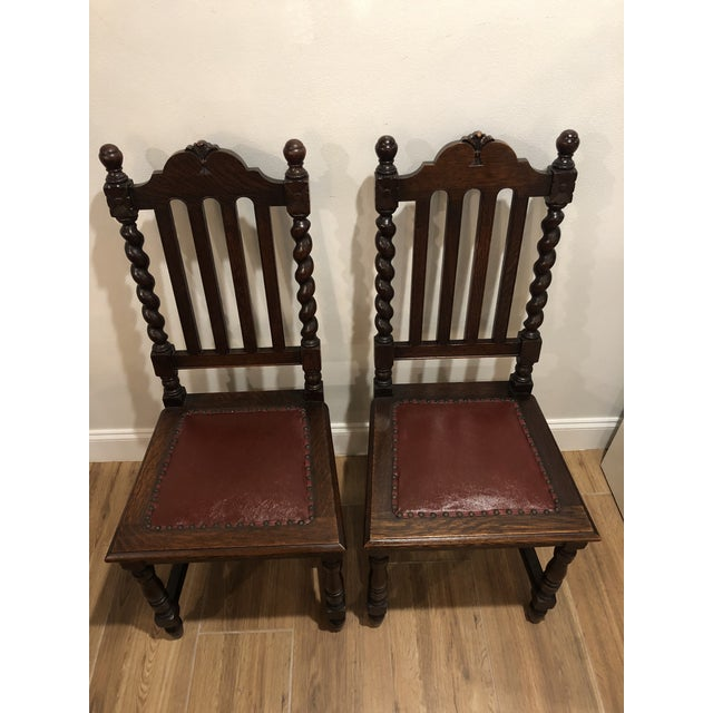 1920s Antique Gothic Barley Twist Renaissance Revival Chairs- a Pair For Sale - Image 4 of 6
