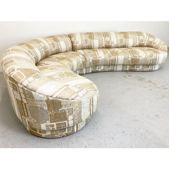 An outstanding all original sectional sofa by Vladimir Kagan. Wonderful geometric abstraction upholstery in excellent...
