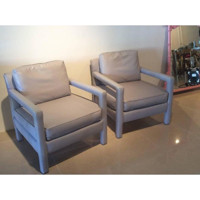 Vintage Milo Baughman Style Parsons Grey Leather Arm Chairs - A Pair For Sale - Image 10 of 12