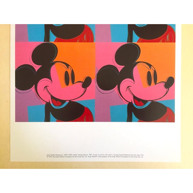 "Americana Andy Warhol Foundation Rare 1995 Lithograph Print Pop Art Poster "" Mickey Mouse "" 1981 For Sale - Image 3 of 6"
