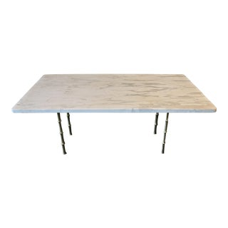 Italian Mid-Century White Marble Cocktail Table For Sale
