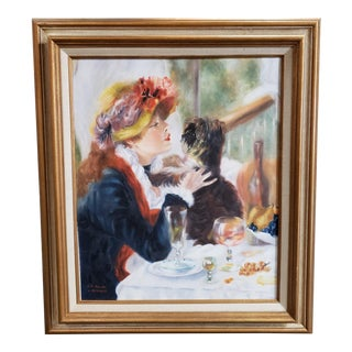 "Mid 20th Century After Pierre-Auguste Renoir ""Luncheon of the Boating Party"" Oil Painting by v. Reinhard (Mid 20th Century) For Sale"
