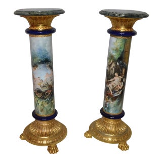 Mid 19th Century Antique Porcelain Hand Painted Neoclassical Brass Base Marble Top Pedestals- A Pair For Sale