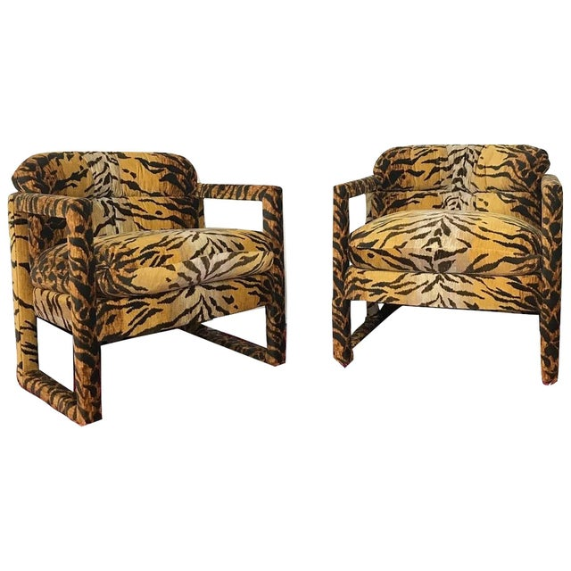 Custom Tiger Print Milo Baughman Chairs For Sale - Image 13 of 13