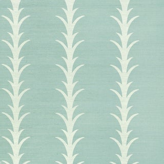 Schumacher X Celerie Kemble Acanthus Stripe Wallpaper in Chambray For Sale