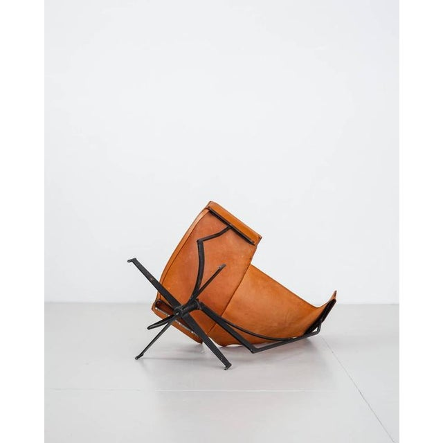 William Katavolos Swiveling Brown Leather Sling Chair, USA, 1950s - Image 7 of 10