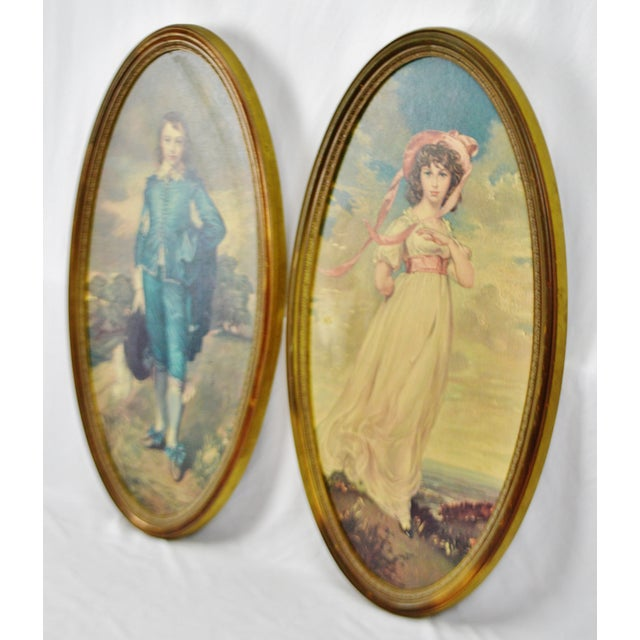 Portraiture Vintage Framed Large Scale Pinkie & Blue Boy Prints on Board - a Pair For Sale - Image 3 of 13