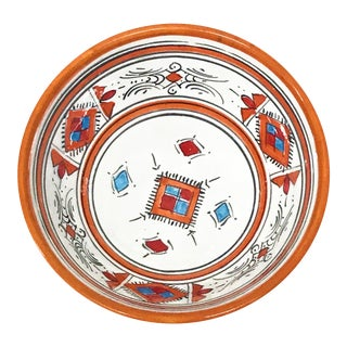 Moroccan Handpainted Small Orange Bowl For Sale