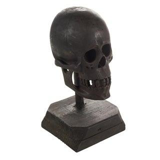 19th Century Folk Art Hand Carved Wooden Skull