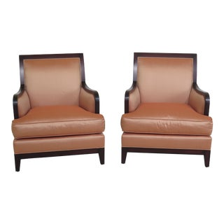 Pair Baker Milling Road Upholstered Modern Chairs For Sale