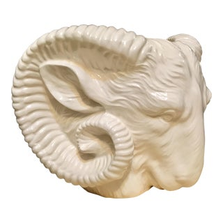 White Ceramic Ram Wall Planter For Sale