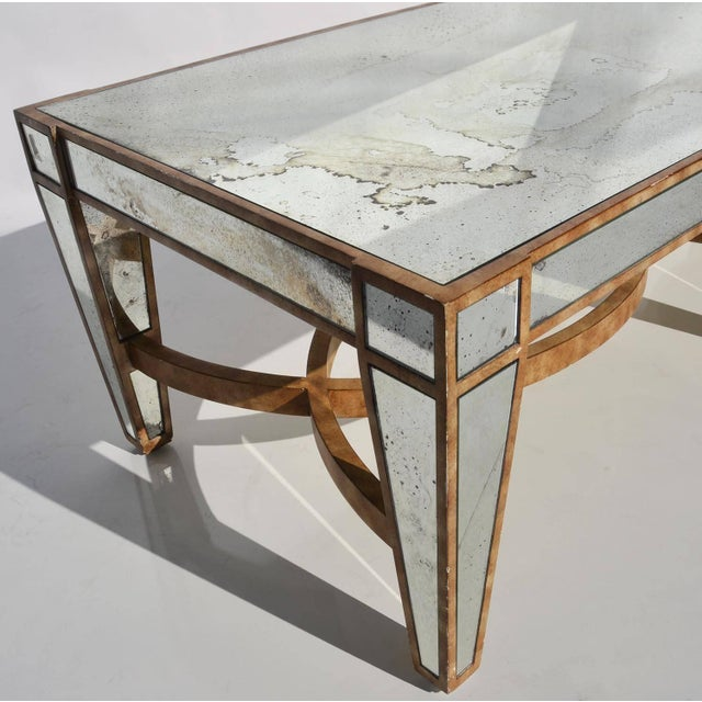 1950s Hollywood Regency Coffee Table in Antiqued Mirror For Sale - Image 5 of 6