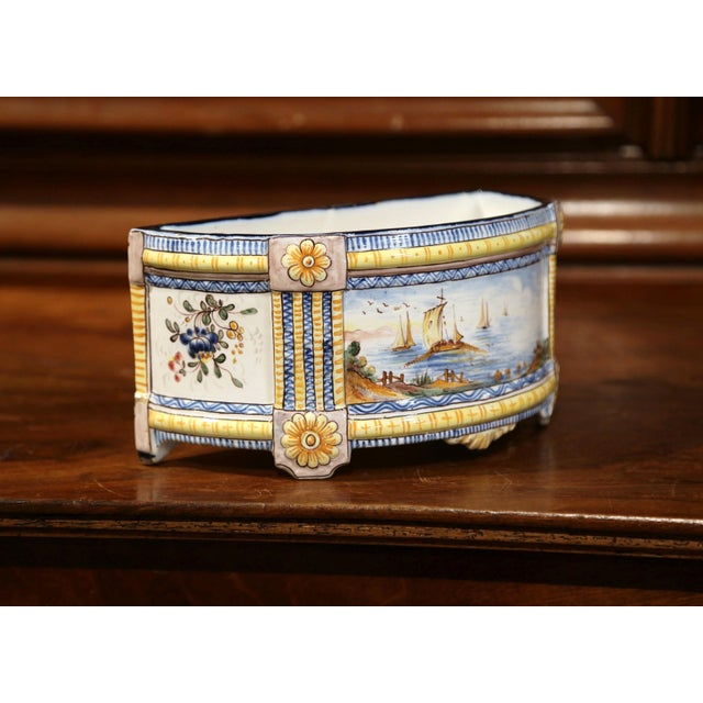 Late 19th Century 19th Century French Hand-Painted Demilune Jardinière With Sailboats and Flowers For Sale - Image 5 of 9