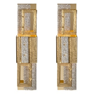 Geometric Murano Glass Gold Sconces For Sale