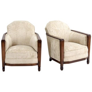 Pair of French Club Chairs Attributed to Paul Follot For Sale