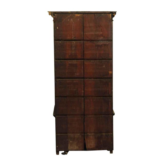Brown Wooden Cabinet With Mirrored Bottom For Sale - Image 8 of 8
