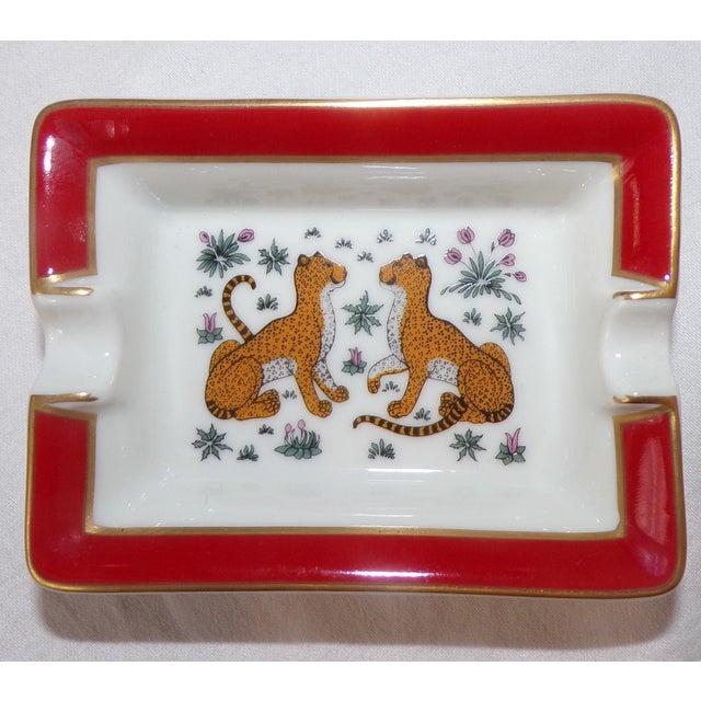 Hermès Vintage Hermes Porcelain Les Leopards Ashtray / Catchall For Sale - Image 4 of 8
