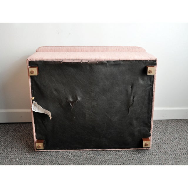 Pink Blush Pink Upholstered Ottoman For Sale - Image 8 of 9