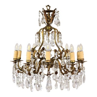 Circa 1910 French Louis XV Style Bronze and Crystal Chandelier For Sale