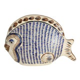 Image of Vintage Stoneware Hand Painted Decorative Fish For Sale