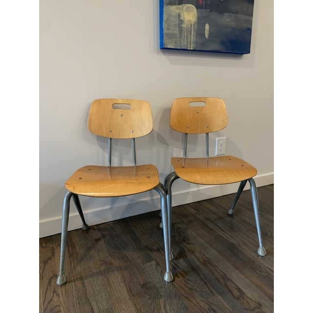 1950s Vintage Brunswick Wooden School Chairs With Bent Tubular Steel Legs - a Pair For Sale - Image 11 of 11