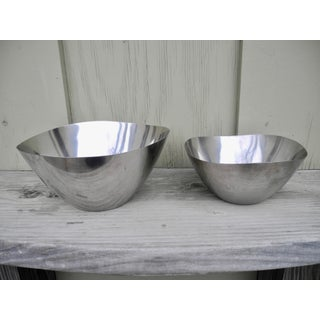 1970s Danish Modern Vintage Sculptural Stainless Steel Serving Bowls by Stelton - a Pair Preview
