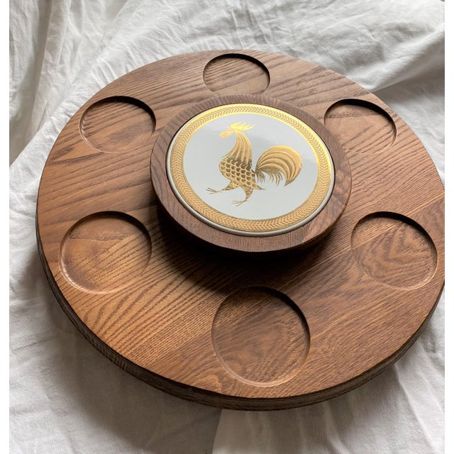 1960s Mid Century Modern Teak Lazy Susan With Gold Rooster For Sale - Image 4 of 10