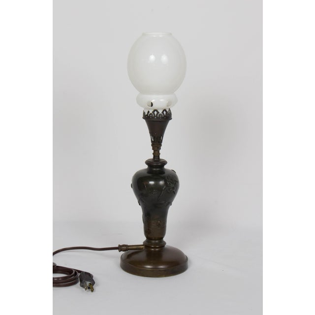 Mid 19th Century Vintage Meiji Japanese Bronze Gas Lamp For Sale - Image 4 of 12