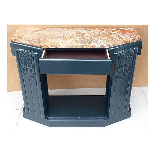 Art Deco Painted Wood Console with Marble Top - Image 3 of 8