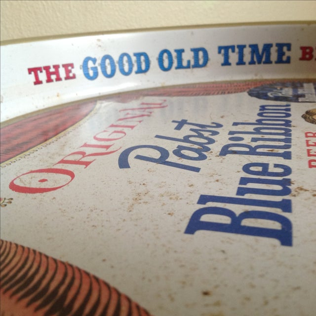 Red Vintage Original Pabst Blue Ribbon Metal Tray For Sale - Image 8 of 10