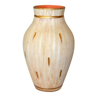 Italian Mid-Century Modern Gold Leaf & Beige Hand-Crafted Ceramic Glazed Vase For Sale