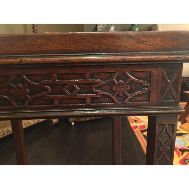 A Square Carved mahogany Chippendale style side table circa 1820 height: 28 in., 71.12 cm. width: 15 in., 38.1 cm. depth:...