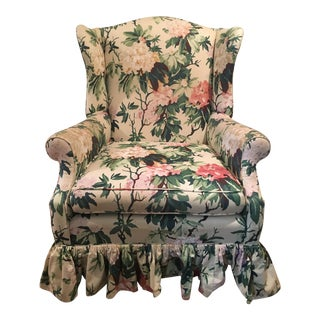 Vintage Floral Wingback Chair