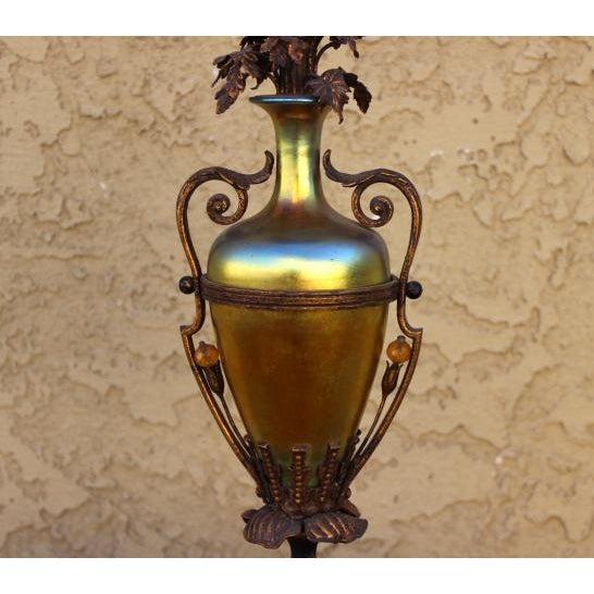 Art Nouveau 1930s Antique Art Glass Table Top Lamp For Sale - Image 3 of 7