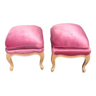 1990s Pink Velvet Stools - a Pair For Sale
