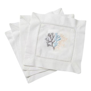 Blue Coral Cocktail Napkins White Cotton With Hem Stitch, Embroidered - Set of 4 For Sale