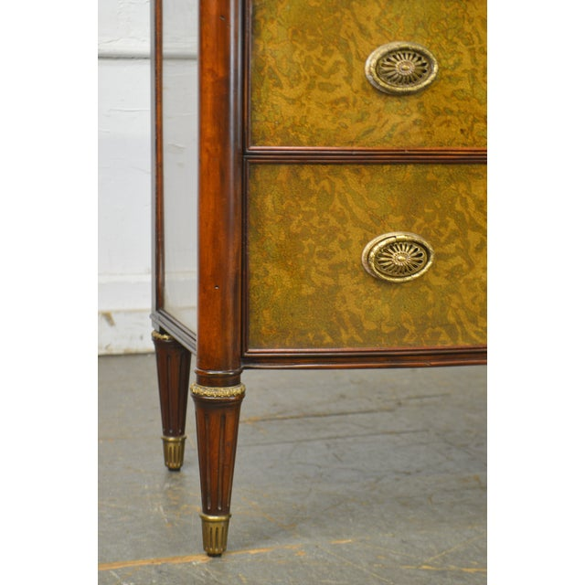 Theodore Alexander Regency Style Eglomise Flame Mahogany Bow Front Veneto Chest For Sale - Image 11 of 13