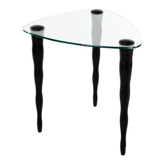 1980s Modern Triangular Glass Top Side Table For Sale