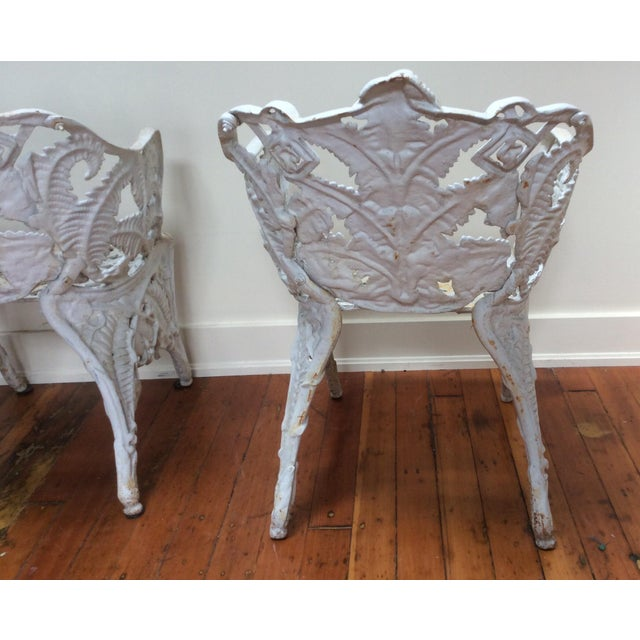 Victorian Iron Fern Garden Chairs - A Pair For Sale - Image 5 of 9