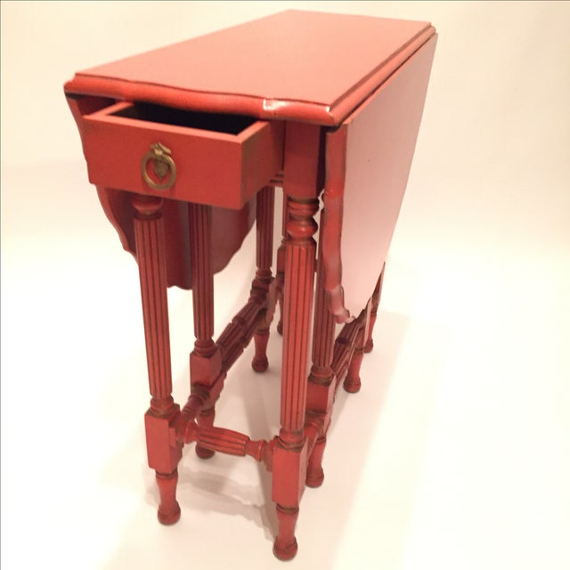 Vintage Orange Drop Leaf Table - Image 9 of 11