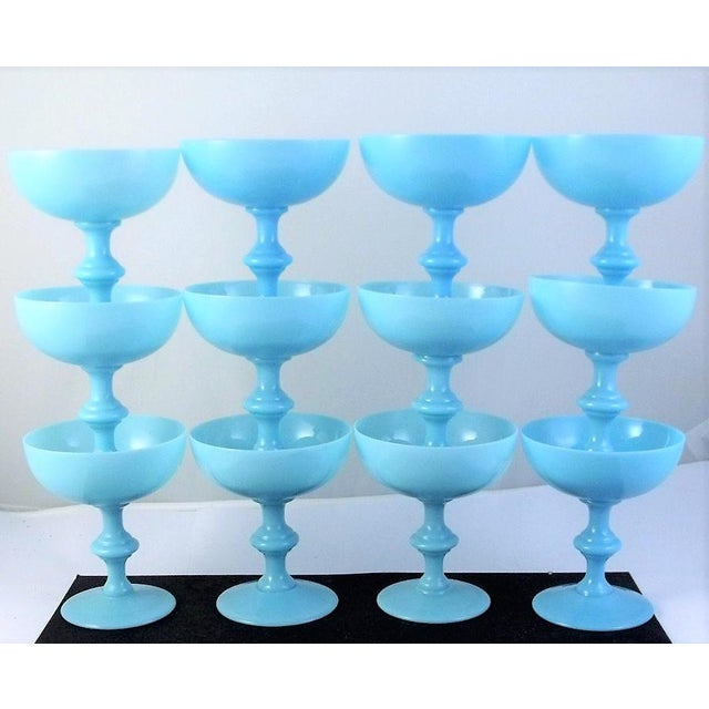 Portieux Vallerysthal Vintage Portieux Vallerysthal French Blue Opaline Champagne Coupes - Set of 12 For Sale - Image 4 of 4