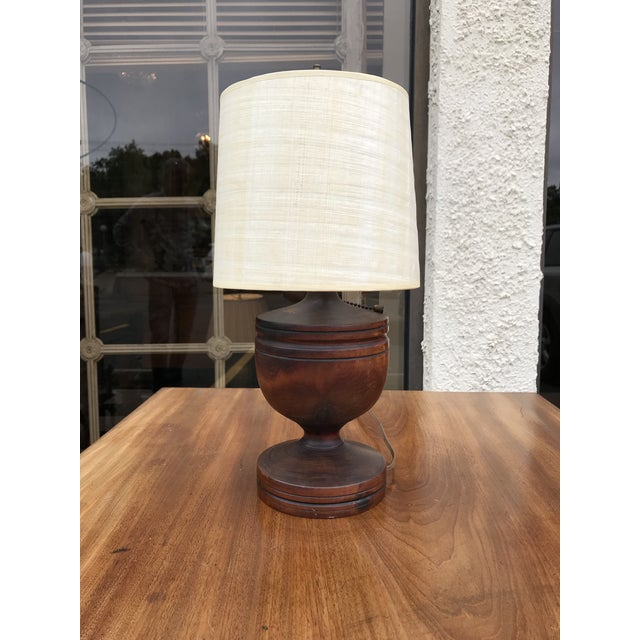 Traditional Small Wooden Urn Lamp For Sale - Image 3 of 7