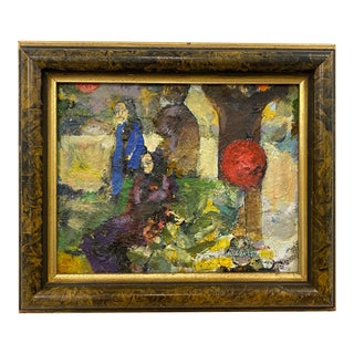 """Vintage Oil Painting """"The Red Balloon"""" by Sanders C.1972 For Sale"""