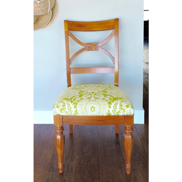 White Green and Cream Linen Batik Print Side Chair For Sale - Image 8 of 8